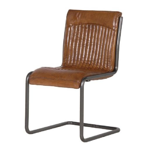 Italian Leather Steel Frame Chair
